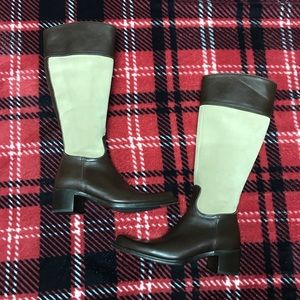 COACH tan suede brown leather Olivia  riding boots
